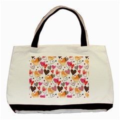 Colorful Cute Hearts Pattern Basic Tote Bag (Two Sides)