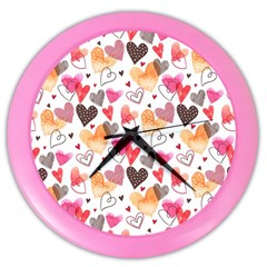 Colorful Cute Hearts Pattern Color Wall Clocks