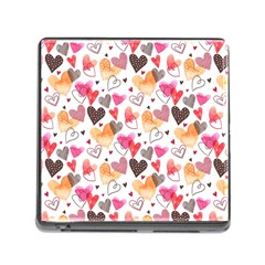 Colorful Cute Hearts Pattern Memory Card Reader (Square)