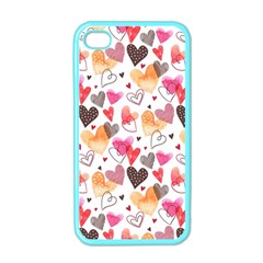 Colorful Cute Hearts Pattern Apple iPhone 4 Case (Color)