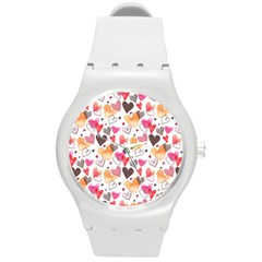Colorful Cute Hearts Pattern Round Plastic Sport Watch (M)