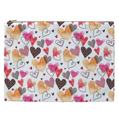 Colorful Cute Hearts Pattern Cosmetic Bag (XXL)
