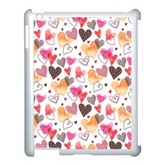 Colorful Cute Hearts Pattern Apple iPad 3/4 Case (White)