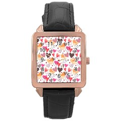 Colorful Cute Hearts Pattern Rose Gold Leather Watch