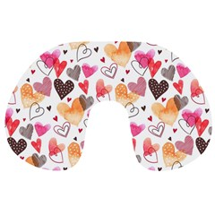 Colorful Cute Hearts Pattern Travel Neck Pillows