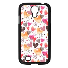 Colorful Cute Hearts Pattern Samsung Galaxy S4 I9500/ I9505 Case (Black)