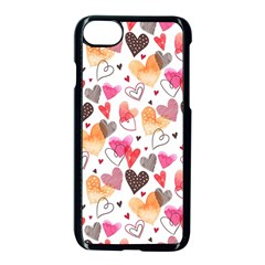 Colorful Cute Hearts Pattern Apple Iphone 7 Seamless Case (black)