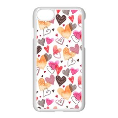 Colorful Cute Hearts Pattern Apple Iphone 7 Seamless Case (white)