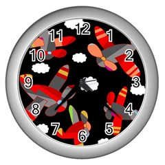 Playful airplanes  Wall Clocks (Silver)