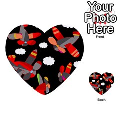 Playful airplanes  Multi-purpose Cards (Heart)