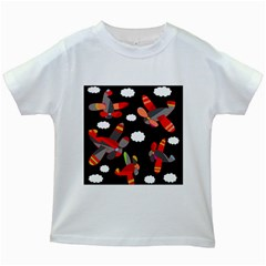 Playful airplanes  Kids White T-Shirts