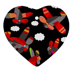 Playful airplanes  Heart Ornament (2 Sides)