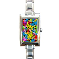 Colorful airplanes Rectangle Italian Charm Watch