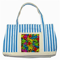 Colorful airplanes Striped Blue Tote Bag