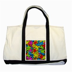 Colorful airplanes Two Tone Tote Bag