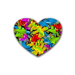 Colorful airplanes Heart Coaster (4 pack)