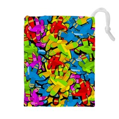 Colorful airplanes Drawstring Pouches (Extra Large)