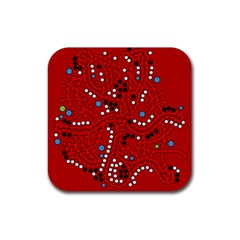 Red fantasy Rubber Square Coaster (4 pack)