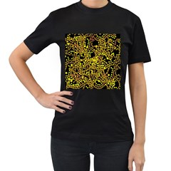 Yellow emotions Women s T-Shirt (Black) (Two Sided)