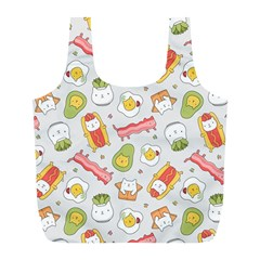 Funny Cat Food Succulent Pattern  Full Print Recycle Bags (L)