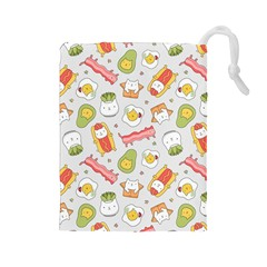 Funny Cat Food Succulent Pattern  Drawstring Pouches (Large)