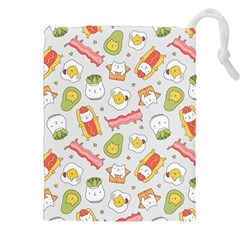 Funny Cat Food Succulent Pattern  Drawstring Pouches (XXL)