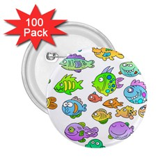 Fishes Col Fishing Fish 2.25  Buttons (100 pack)