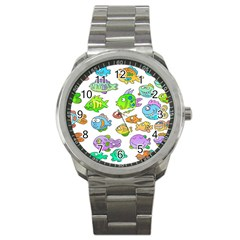 Fishes Col Fishing Fish Sport Metal Watch