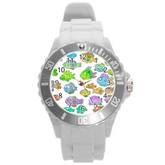 Fishes Col Fishing Fish Round Plastic Sport Watch (L)