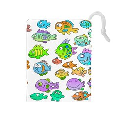 Fishes Col Fishing Fish Drawstring Pouches (Large)