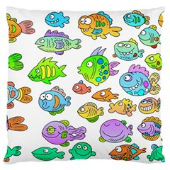 Fishes Col Fishing Fish Large Flano Cushion Case (Two Sides)
