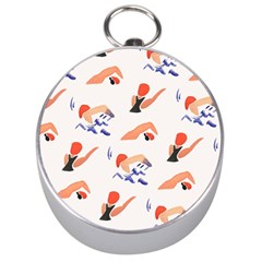 Olympics Swimming Sports Silver Compasses