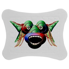 Futuristic Funny Monster Character Face Jigsaw Puzzle Photo Stand (bow)