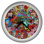 Moster Mask Wall Clocks (Silver)  Front