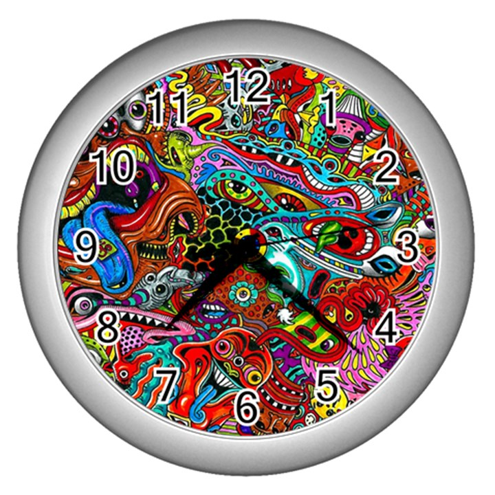Moster Mask Wall Clocks (Silver)