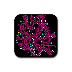 Pink fantasy Rubber Square Coaster (4 pack)