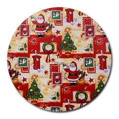 Santa Clause Mail Bird Snow Round Mousepads