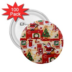 Santa Clause Mail Bird Snow 2.25  Buttons (100 pack)