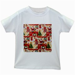 Santa Clause Mail Bird Snow Kids White T-Shirts