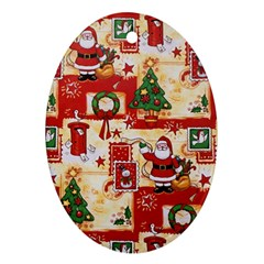 Santa Clause Mail Bird Snow Oval Ornament (Two Sides)