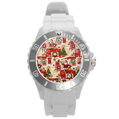 Santa Clause Mail Bird Snow Round Plastic Sport Watch (L)