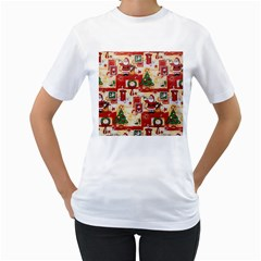 Santa Clause Mail Bird Snow Women s T-Shirt (White)