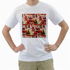 Santa Clause Mail Bird Snow Men s T-Shirt (White)