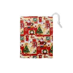 Santa Clause Mail Bird Snow Drawstring Pouches (Small)