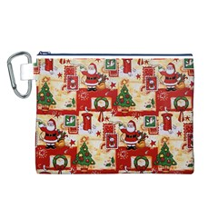 Santa Clause Mail Bird Snow Canvas Cosmetic Bag (L)