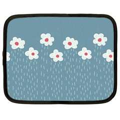 Cloudy Sky With Rain And Flowers Netbook Case (Large)
