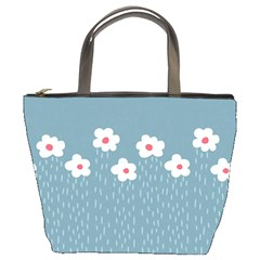 Cloudy Sky With Rain And Flowers Bucket Bags