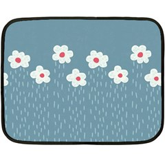 Cloudy Sky With Rain And Flowers Double Sided Fleece Blanket (Mini)