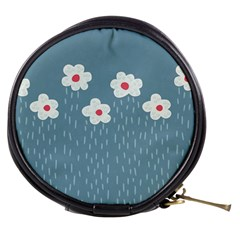 Cloudy Sky With Rain And Flowers Mini Makeup Bags