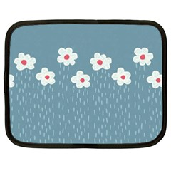 Cloudy Sky With Rain And Flowers Netbook Case (xxl)
